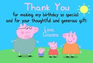 Peppa the Pig Thank You Cards