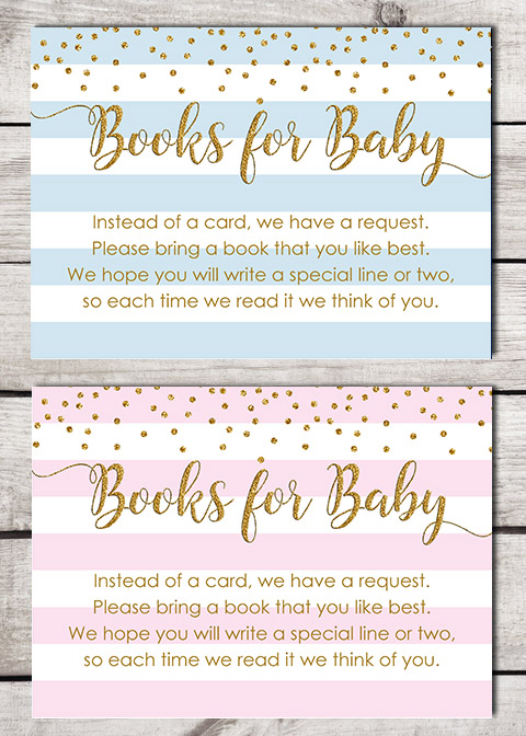 Glitter Stripe Books for Baby Shower Insert Cards