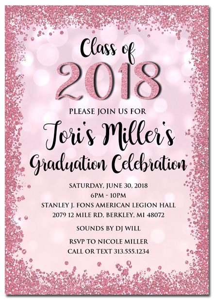 Pink Glitter Graduation Invitations