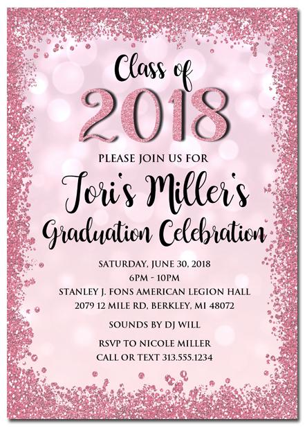 Pink Glitter Graduation Invitations