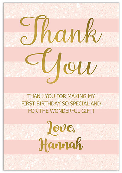 1st Birthday Girl Thank You Cards