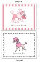 Pink Poodle Birthday Party Thank You Note Cards Personalized