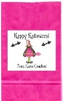 Halloween Pink Witch Party Goodie Loot Bag Labels