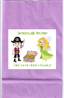 Fairy and Pirate Birthday Party Goodie Loot Bag Labels Favors