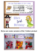 Fairy and Pirate Birthday Party Bag Toppers Favors