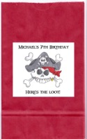 Pirate Birthday Party Goodie Loot Bag Labels Favors