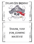Pirate Birthday Personalized Mini Candy Bar Wrappers