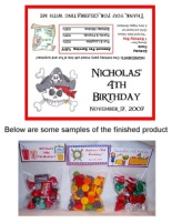 Pirate Birthday Party Bag Toppers Favors w/Recloseable Bags