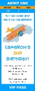 Airplane Birthday Party Ticket Invitations