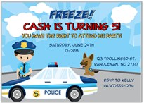 Police Birthday Party Invitations