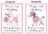 Pink Poodle in Paris Birthday Personalized Crayon Box Labels