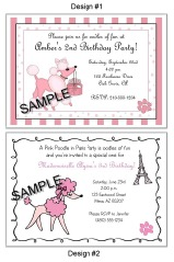 Pink Poodle in Paris Birthday Party Invitations