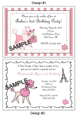 Pink Poodle in Paris Party Invitations