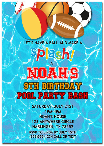 Pool Party Sports Birthday Invitations