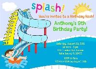 Waterslide Pool Party Birthday Invitations