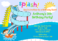 Waterslide Pool Party Birthday Invitations