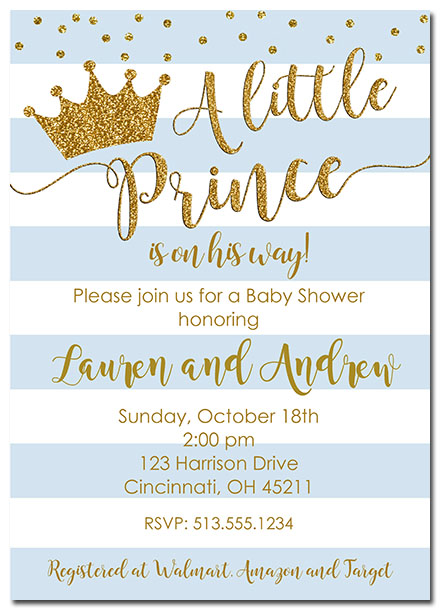 Prince Crown Baby Shower Invitations