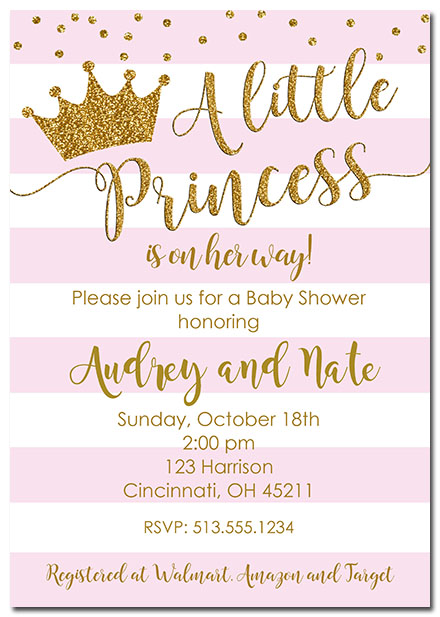 Princess Crown Baby Shower Invitations