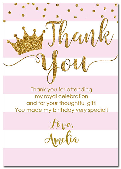 1st Birthday Girl Princess Crown Thank You Cards