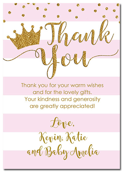 Princess Crown Baby Shower Thank You Cards