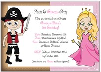 Princess and Pirate Birthday Party Invitations