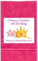 Princess Crown Birthday Party Goodie Loot Bag Labels Favors