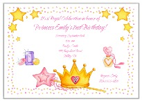 Princess Crown Birthday Party Invitations