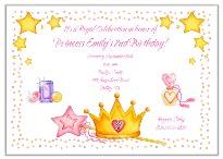 Princess Crown Birthday Party Invitations