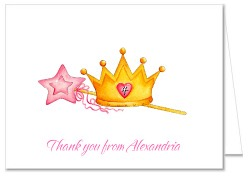 Princess Crown Thank You Note Cards Personalized