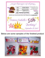 Princess Crown Birthday Party Bag Toppers Favors w/Recloseable Bags