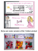 Princess and Knight Birthday Party Bag Toppers Favors