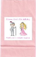 Princess and Knight Birthday Party Goodie Loot Bag Labels Favors