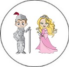 Princess and Knight Round Envelope Seals