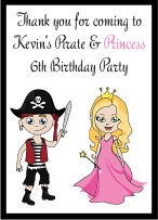 Pirate and Princess Birthday Party Crayon Box Labels Favors