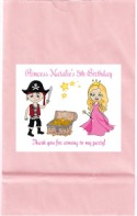 Pirate and Princess Birthday Party Goodie Loot Bag Labels Favors