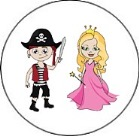 Pirate and Princess Round Envelope Seals