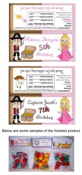 Pirate and Princess Birthday Party Bag Toppers Favors
