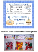 Prince Birthday Party Bag Toppers Favors w/Recloseable Bags