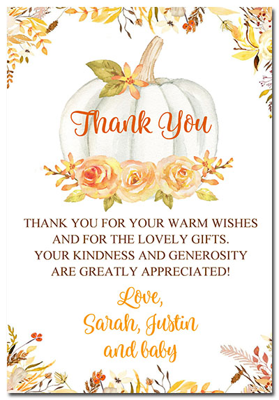 Pumpkin Baby Shower Thank You Cards