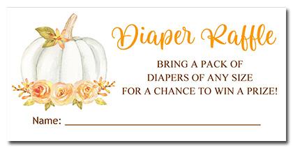Pumpkin Baby Shower Diaper Raffle Tickets