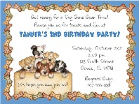 Dog Puppies Birthday Party Invitations Blue
