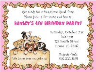 Dog Puppies Birthday Party Invitations Pink