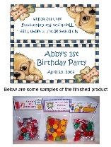 Puppy Dog Birthday Party Bag Toppers Favors w/Recloseable Bags