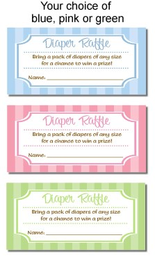 Trendy Stripe Baby Shower Diaper Raffle Tickets