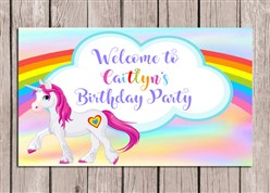 Rainbow Unicorn Birthday Party Sign