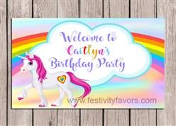 Rainbow Unicorn Birthday Party Sign