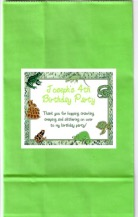 Reptile Lizard Snake Birthday Party Goodie Loot Bag Labels