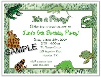 Reptile Frog Lizard Snake Birthday Party Invitations
