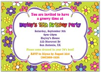 Retro Flower Power 70s Birthday Party Invitations