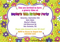 Retro Flower Power 70's Birthday Party Invitations